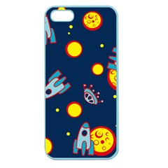 Rocket Ufo Moon Star Space Planet Blue Circle Apple Seamless Iphone 5 Case (color) by Mariart