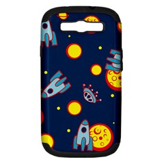Rocket Ufo Moon Star Space Planet Blue Circle Samsung Galaxy S Iii Hardshell Case (pc+silicone) by Mariart