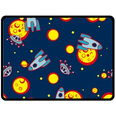 Rocket Ufo Moon Star Space Planet Blue Circle Double Sided Fleece Blanket (large)  by Mariart