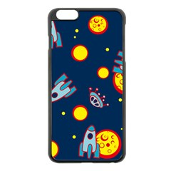 Rocket Ufo Moon Star Space Planet Blue Circle Apple Iphone 6 Plus/6s Plus Black Enamel Case by Mariart