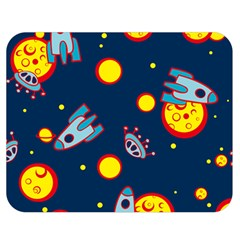 Rocket Ufo Moon Star Space Planet Blue Circle Double Sided Flano Blanket (medium)  by Mariart