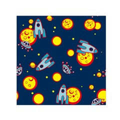 Rocket Ufo Moon Star Space Planet Blue Circle Small Satin Scarf (square) by Mariart