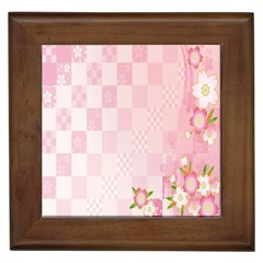 Sakura Flower Floral Pink Star Plaid Wave Chevron Framed Tiles by Mariart