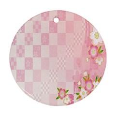 Sakura Flower Floral Pink Star Plaid Wave Chevron Ornament (round) by Mariart