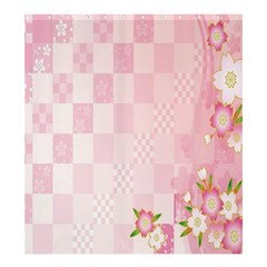 Sakura Flower Floral Pink Star Plaid Wave Chevron Shower Curtain 66  X 72  (large)  by Mariart