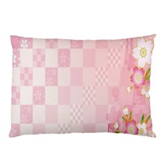 Sakura Flower Floral Pink Star Plaid Wave Chevron Pillow Case (two Sides) by Mariart