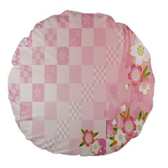 Sakura Flower Floral Pink Star Plaid Wave Chevron Large 18  Premium Flano Round Cushions by Mariart