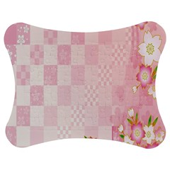 Sakura Flower Floral Pink Star Plaid Wave Chevron Jigsaw Puzzle Photo Stand (bow) by Mariart
