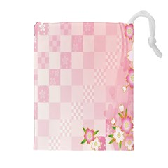 Sakura Flower Floral Pink Star Plaid Wave Chevron Drawstring Pouches (extra Large) by Mariart
