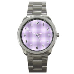 Plaid Purple White Line Sport Metal Watch by Mariart