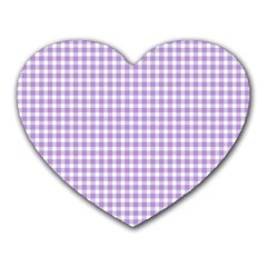 Plaid Purple White Line Heart Mousepads by Mariart