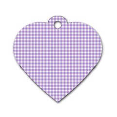 Plaid Purple White Line Dog Tag Heart (two Sides) by Mariart