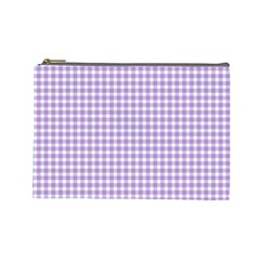 Plaid Purple White Line Cosmetic Bag (large)  by Mariart