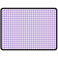 Plaid Purple White Line Double Sided Fleece Blanket (large)  by Mariart