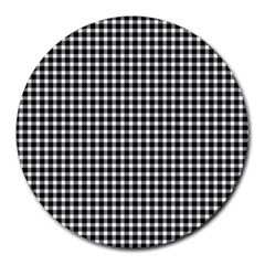 Plaid Black White Line Round Mousepads by Mariart