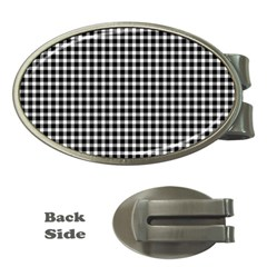 Plaid Black White Line Money Clips (oval)  by Mariart
