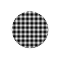 Plaid Black White Line Magnet 3  (round) by Mariart