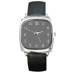 Plaid Black White Line Square Metal Watch by Mariart