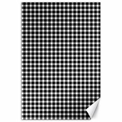 Plaid Black White Line Canvas 24  X 36  by Mariart