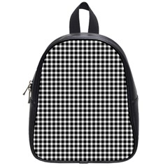 Plaid Black White Line School Bags (Small)