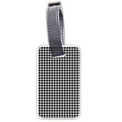 Plaid Black White Line Luggage Tags (one Side)  by Mariart