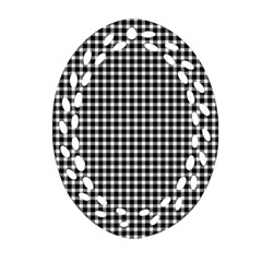 Plaid Black White Line Oval Filigree Ornament (two Sides) by Mariart
