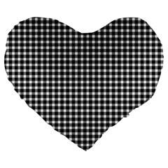 Plaid Black White Line Large 19  Premium Heart Shape Cushions by Mariart