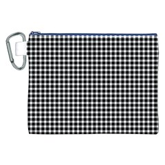Plaid Black White Line Canvas Cosmetic Bag (xxl) by Mariart