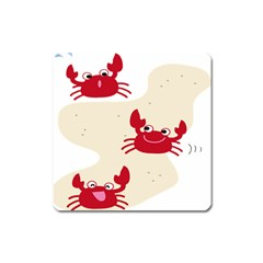 Sand Animals Red Crab Square Magnet by Mariart