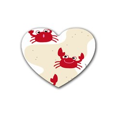 Sand Animals Red Crab Rubber Coaster (heart)  by Mariart