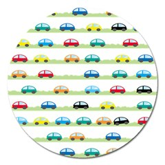 Small Car Red Yellow Blue Orange Black Kids Magnet 5  (round) by Mariart