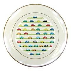 Small Car Red Yellow Blue Orange Black Kids Porcelain Plates by Mariart