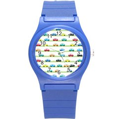 Small Car Red Yellow Blue Orange Black Kids Round Plastic Sport Watch (s) by Mariart