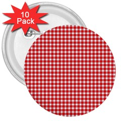 Plaid Red White Line 3  Buttons (10 Pack)  by Mariart