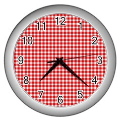 Plaid Red White Line Wall Clocks (silver)  by Mariart