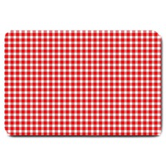 Plaid Red White Line Large Doormat  by Mariart