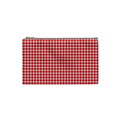 Plaid Red White Line Cosmetic Bag (small)  by Mariart
