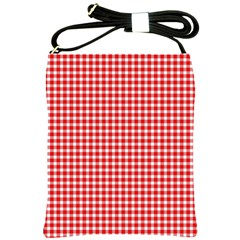 Plaid Red White Line Shoulder Sling Bags by Mariart