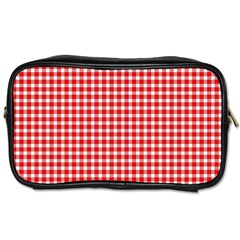 Plaid Red White Line Toiletries Bags by Mariart