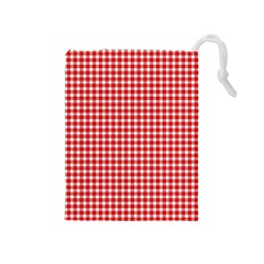 Plaid Red White Line Drawstring Pouches (medium)  by Mariart