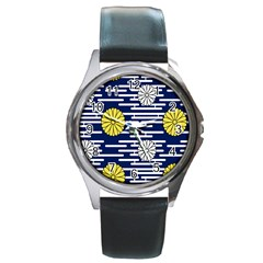Sunflower Line Blue Yellpw Round Metal Watch by Mariart