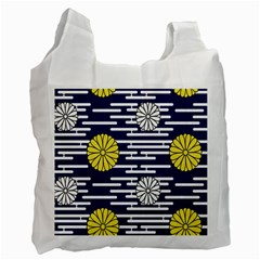 Sunflower Line Blue Yellpw Recycle Bag (one Side) by Mariart