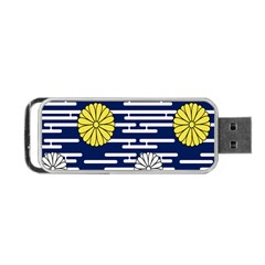 Sunflower Line Blue Yellpw Portable Usb Flash (one Side) by Mariart