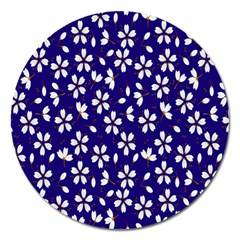 Star Flower Blue White Magnet 5  (round) by Mariart