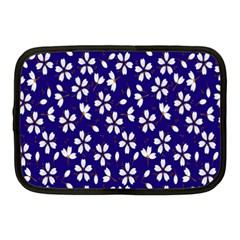 Star Flower Blue White Netbook Case (medium)  by Mariart