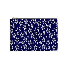 Star Flower Blue White Cosmetic Bag (medium)  by Mariart