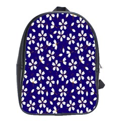 Star Flower Blue White School Bags(large)  by Mariart