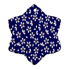 Star Flower Blue White Ornament (snowflake) by Mariart