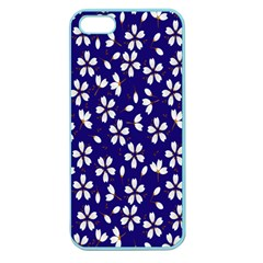 Star Flower Blue White Apple Seamless Iphone 5 Case (color) by Mariart