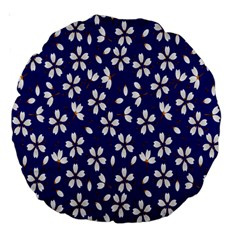Star Flower Blue White Large 18  Premium Round Cushions by Mariart